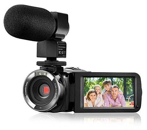 Camera Camcorder,Onshowy Remote Control Infrared Night Vision Handy Camera HD 1080P 24MP 16X Digital Zoom Video Camera with Microphone and 3.0″ LCD 270 Degree Touchscreen and 2 Batteries (Black)