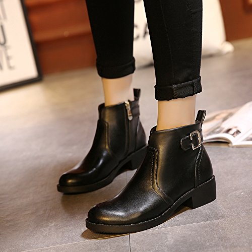 Meeshine Womens Leather Zip Chunky Low Heel Round Toe Buckle Strap Ankle Booties MRFw6