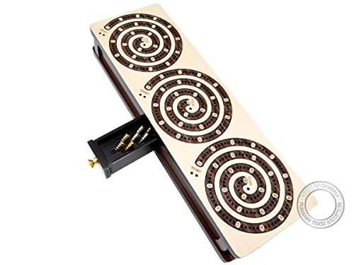 House of Cribbage : Spiral Design Continuous Cribbage Board / Box inlaid in Maple Wood / Rosewood : 3 Track : Separate Storage Space for Two Deck of Cards & Pegs ()