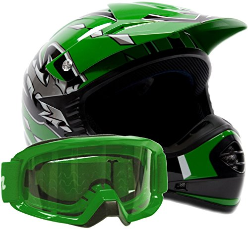 Kids Youth Offroad Gear Combo Helmet & Goggles DOT Motocross ATV Dirt Bike MX Motorcycle Green, - Typhoon Kids