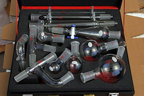Glass Organic Chemistry Kit 24/40 Lab Glassware Set 14 Pcs, Lab Chemistry Set