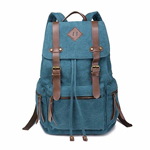 Gxinyanlong Mochila de Lona Vintage Unisex para la Escuela, Viajes, Senderismo, Rosa (b) azul