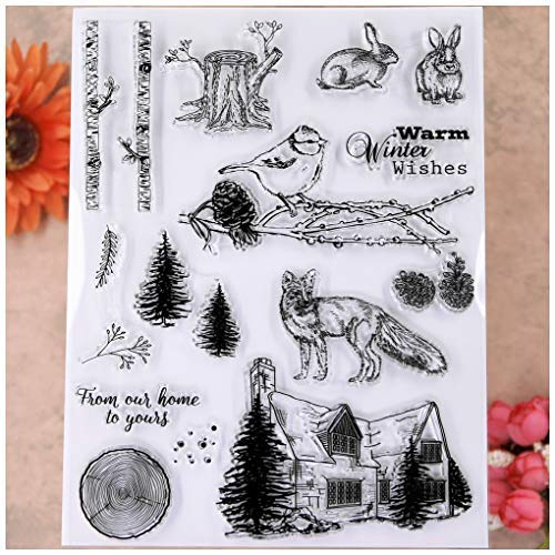 KWELLAM Merry Christmas Tree Stump Pine Cone Fox Rabbit Bird Clear Stamps for Card Making Decoration and DIY Scrapbooking