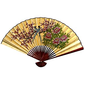 "Oriental Furniture Gold Leaf Love Birds Fan - 30""H x 48""W"