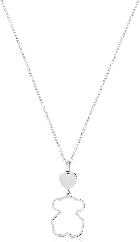 TOUS - Collar de Plata de Primera Ley con Colgante de Oso - Largo 45 cm, Corazón 0,84 cm y Silueta Oso 1,9 cm