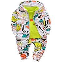 AMSKY❤ Baby Clothing Girls 6-12 Months,Toddler Kid Baby Girl Boy Cartoon Dinosaur T-Shirt+Hooded Coat+Pants Clothes Set