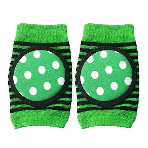 Baby Crawling Knee Pad,Breathable Unisex Infant Toddler Elbow Protective Pads Crawling Safety Protector- Indoor / Outdoor Use (Green 1 Pairs)