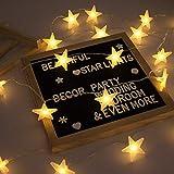 Lecone Luces de la Estrella Cuerda, Bateria cargada Decoraciones de estrellas,20 leds Estrellas decorativas blancas cálidas para bodas, cumpleaños, Halloween, Navidad, habitaciones para bebés, interi