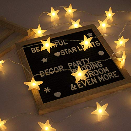 EFFE Luces de la Estrella Cuerda, Bateria cargada Decoraciones de estrellas,20 leds Estrellas decorativas blancas cálidas...
