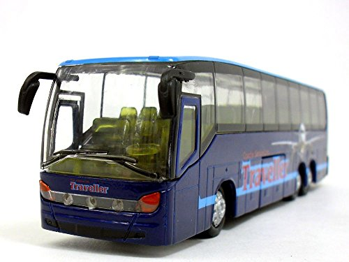 7.25 inch Long Coach Bus with Light and Sound Diecast Model - BLUE
