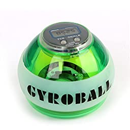 Shalleen (Green)(LED Lights&Seed Meter)Gyroscope LED Lights Wrist Ball Power Ball Gyro Power Arm Exercise Force Ball