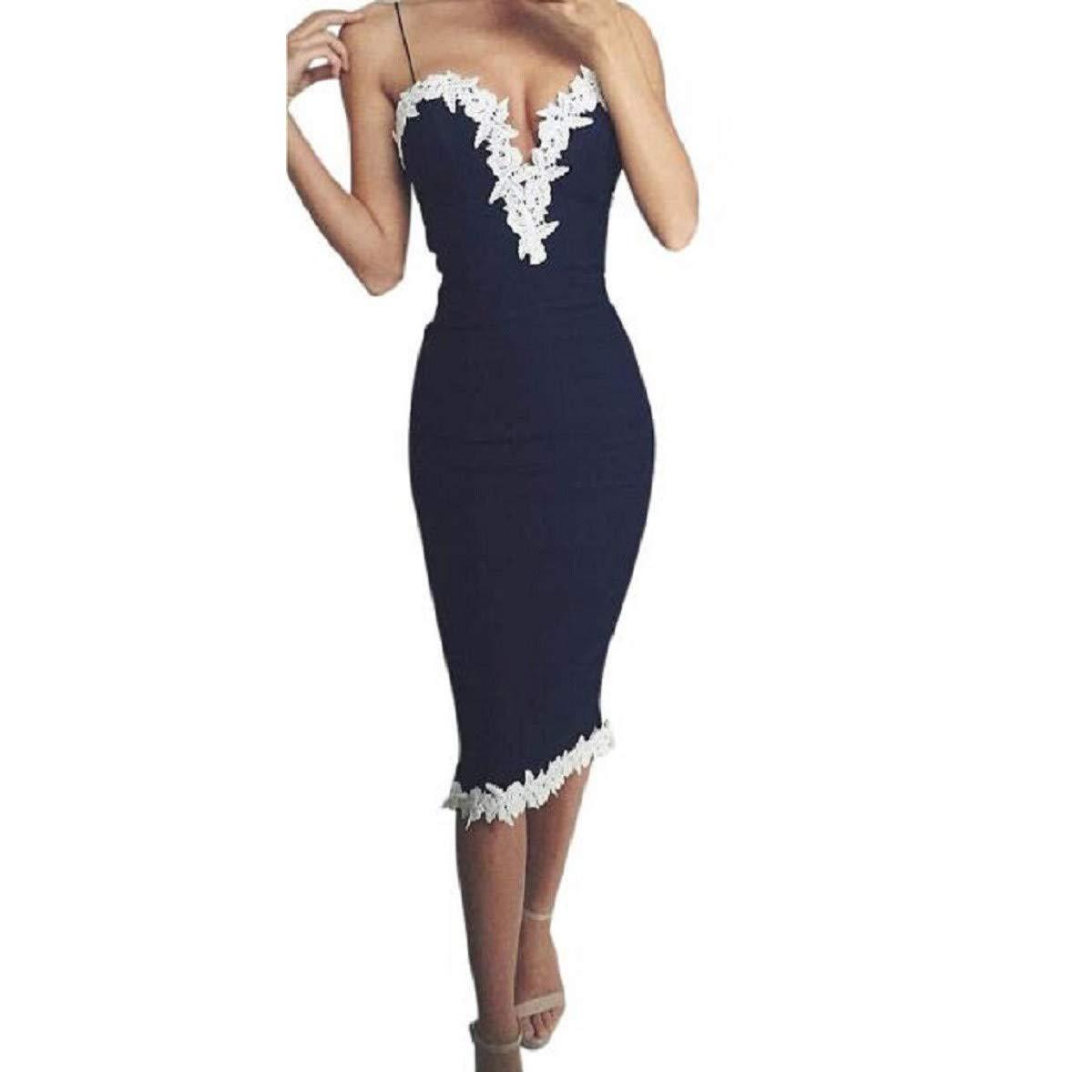 Knee Length Bodycon Dress for Women Elegant, Lace Edge Spaghetti Strap Cocktail Dress v-Neck Mini Dress Clubwear(Blue, M)