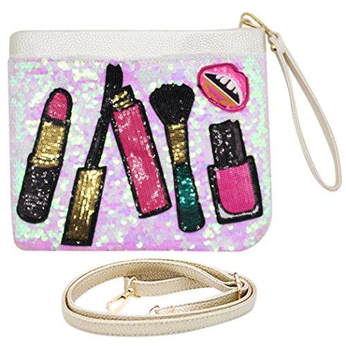 Bags us Women Two-sided Glitter Dazzling Sequins Crossbody Shoulder Clutch Bag Purse ZipperEnvelope Evening Handbag