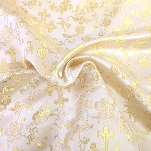 Metallic Church Cross Brocade Fabric 60 (Ivory / Gold)
