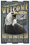 Cheap American Expedition Bald Eagle Wooden Cabin Sign