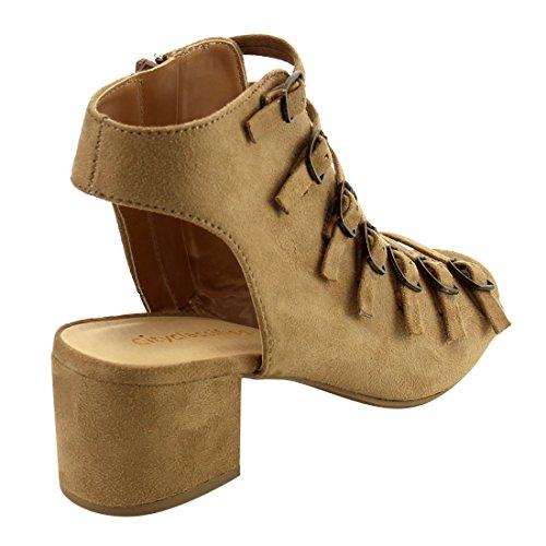 Donna Classificata Da Donna Con Cinturino Alla Caviglia Open Toe In Chunky Impunturato Tacco Alla Caviglia Bootie Natural Microsuede