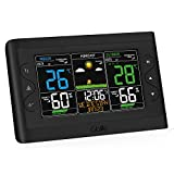 GBlife Wireless Weather Forecast Station, Indoor Outdoor Digital Color Weather Thermometer Barometer with Temperature, Humidity Monitor, Alarm Clock, Adjustable Brightness for Home & Office