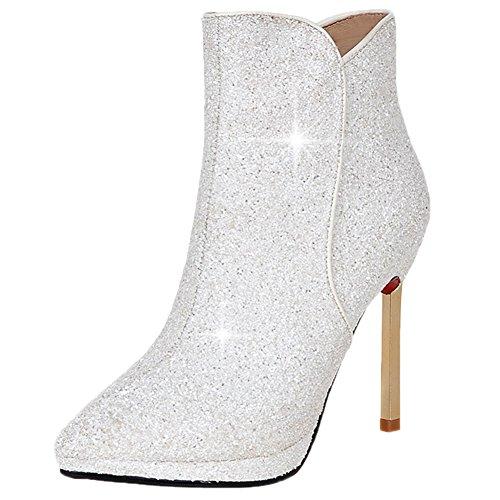HooH Mujer Botas Tacón alto Pointed Toe Bling Lentejuelas Tacón de aguja Zapatos de tacón Botines Blanco