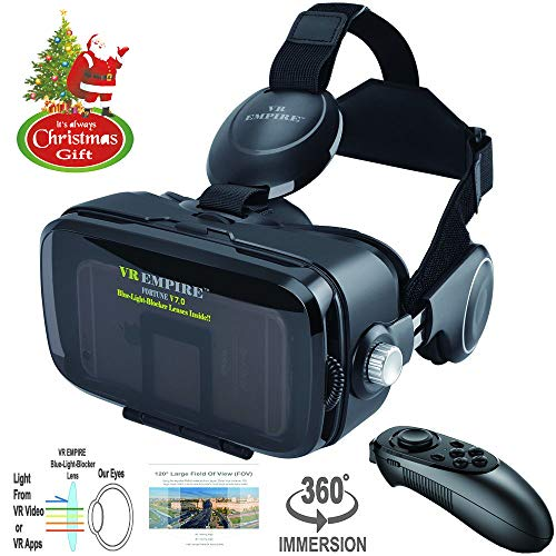 - VR Headset 3D Glasses with VR Controller Remote 120° FOV, Anti-Blue-Light Lenses, Stereo Headset, for All Smartphones with Length Below 6.3 inch Such as iPhone & Samsung HTC HP LG etc.