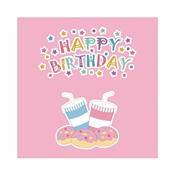 OERJU 2,5x2,5m Cumpleaños Fondo Potable Donuts Rosa Feliz ...