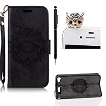 For iPod Touch 5/Touch 6 Leather Case,SKYXD Premium PU Leather Designed Retro Mandala Floral Flower Flip Fold Wallet Case Cover for iPod Touch 5/Touch 6+ Touch stylus + Cute Dust Plug,Black
