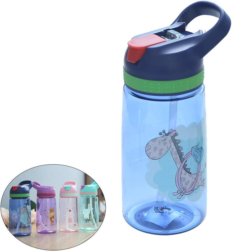 R-WEICHONG - Botella de Agua para niños con Pajita sin BPA, Botella de Agua Potable, de plástico Saludable, portátil, para Deportes, 450 ml
