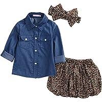 3pc Cute Baby Girl Blue Jean Shirt +Princess Tulle Overlay Lace Dress+Headband