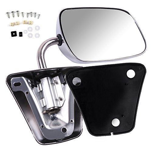 SCITOO Towing Mirrors Fit Chevrolet/GMC Truck Driver Side or Passenger Side Replacement Side View Stainless Steel Manual Folding Door Mirror