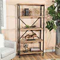 Rustic Brown Wood and Metal 5-Shelf Industrial Bookcase