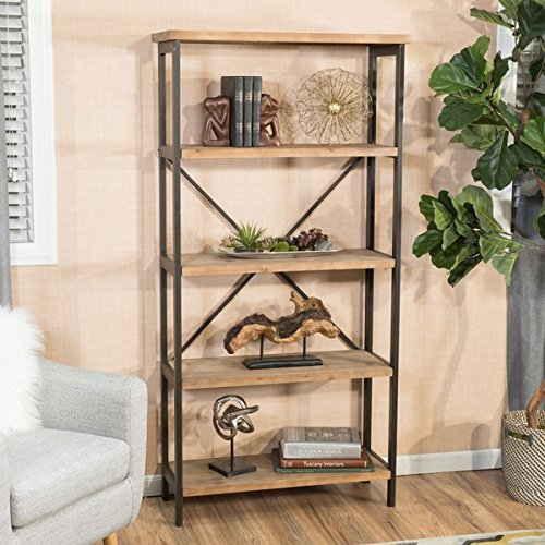5 Shelf Metal Bookcase (Rustic Brown Wood and Metal 5-Shelf Industrial Bookcase)