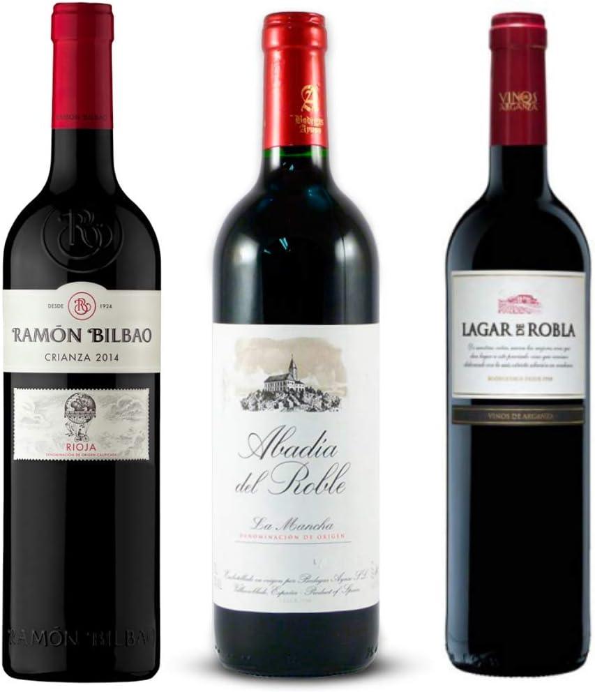 Pack de Vinos para regalar: Ramon Bilbao Vino Rioja crianza, Abadía del Roble La Mancha tinto, Lagar de Robla mencía bierzo - Ideal para navidad, 3 botellas de 75cl: Amazon.es: Alimentación y