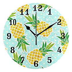 AUUXVA SEULIFE Wall Clock Tropical Fruit Pineapple Polka Dot, Silent Non Ticking Clock for Kitchen Living Room Bedroom Home Artwork Gift