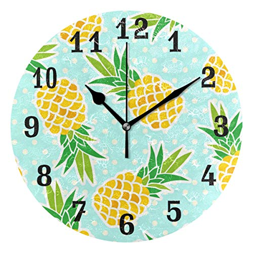 (AUUXVA SEULIFE Wall Clock Tropical Fruit Pineapple Polka Dot, Silent Non Ticking Clock for Kitchen Living Room Bedroom Home Artwork Gift)