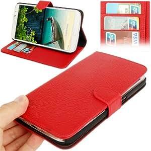 Lichi Texture Genuine Leather Funda & Holder Case Cover con bolsillos internos para Samsung Galaxy Mega 6,3 i9200 (Red) %2F