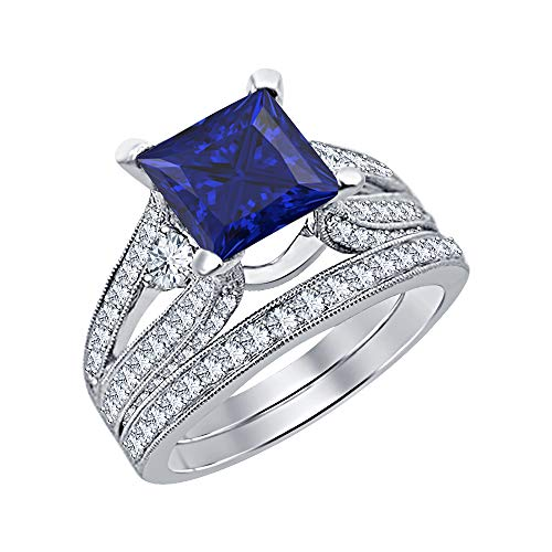 Wedding Band Bridal Ring Set 3.00 Ctw Princess Cut Blue Sapphire & Diamond 14k White Gold Over .925 Sterling Silver for Women's ()