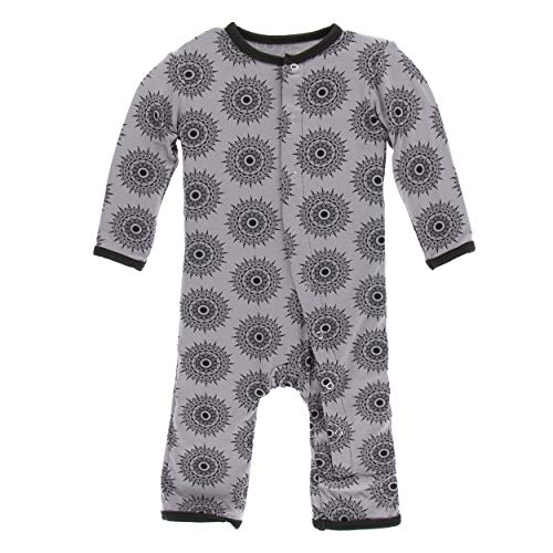 Kickee Pants Little Boys and Girls Print Coverall with Snaps - Feather Mandala, 9-12 Months ()