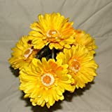 6 x Artificial Single Stem Yellow Gerbera with Big Bloom - very dramatic - home garden by A1-Homes