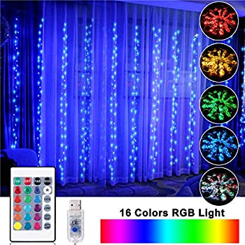 OPOLEMIN Window Curtain Lights Color Change Curtain String Lights of 300 RGB USB Powered, 16 Lighting Colors 4 Light Shows 9.84x9.84ft Rainbow Starry Lights for Bedroom Weddings Parties Garden Wall