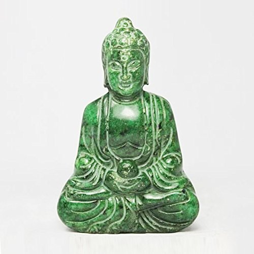 CHINESE HANDWORK CARVING BUDDHA OLD GREEN JADE STATUE (Green Jade Carving)