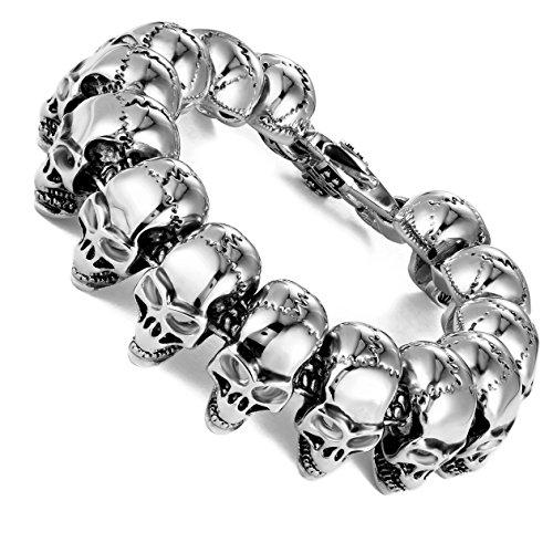 ANAZOZ Silver Mens Stainless Steel Bracelet Biker Link