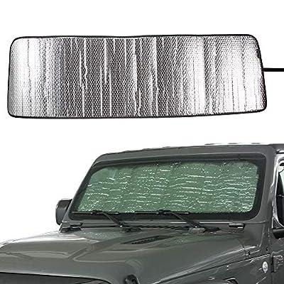 Front Windshield Sunshade Sun Shade for 2020 2020 Jeep Wrangler Sahara Rubicon JL JLU 2 Door & 4 Door Heat Shield Windshield Custom-fit Sun Visor Mat: Automotive
