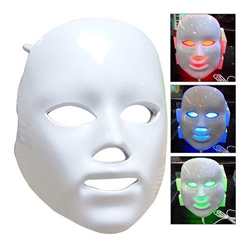 Frcolor LED Photon Therapy Masque facial 3 couleurs Light Skin Treatment Soins Rajeunissement Instruments de blanchiment facial USB Powered