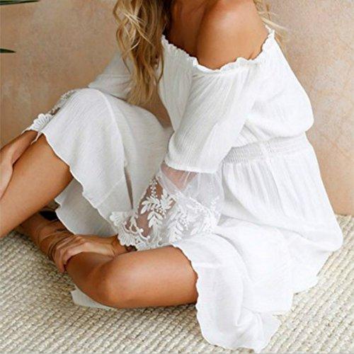 M YUANLINGWEI Boho De del Playa Suelta Encaje Vestidos Bustier S Hombro Algodón Manga Vestido Larga Mujeres De De Blanca FFrWqTB