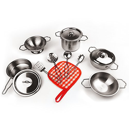 KIDAMI 13 Pieces Kitchen Pretend Toys Stainless Steel Cookware Playset Varieties Pots Pans Cooking Utensils Kids (fit Little Baby Tiny Hands) ()