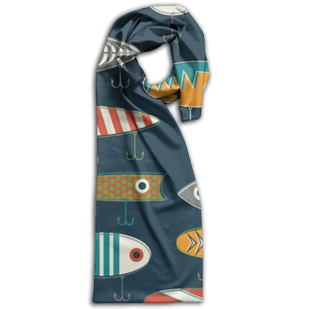 Fishing Lure 100% Polyester Soft Scarves Shawls Luxurious Long For Men And Women Gift For Travel