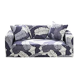 Prosperveil - Fundas de sofá Estampadas de poliéster elástico y Elastano, Fundas para sofá y Muebles, Blue Leaf, 3 Seater