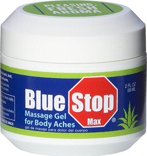 Blue Stop Max Massage Gel for Body Aches, 2 oz jar; 3 in 1 Product Relieves Body Aches, Supports Joints and Nourishes the Skin (Jar 2 Ounce Aloe)