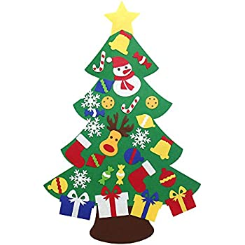 yeahbeer felt christmas tree for kids glitter edition 3ft wall or door hanging - Christmas Treee