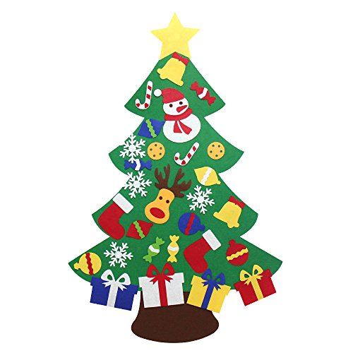 Yeahbeer Felt Christmas Tree for Kids- Glitter Edition. 3Ft, wall or door hanging, 30 detachable Christmas ornaments (#2 Xmas gift) (Diy Ornaments Christmas Fabric)