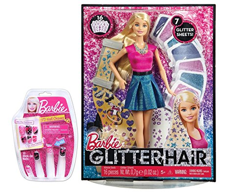 Glitter Hair Design Doll with Nail Design Set and Carrying (Barbie Glitter Hair)